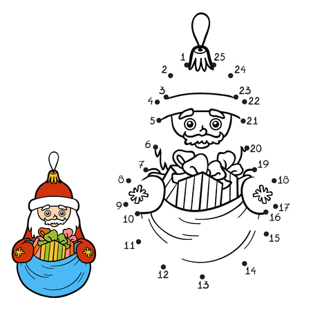 Numbers game, education dot to dot game for children. Christmas toys, Santa Claus