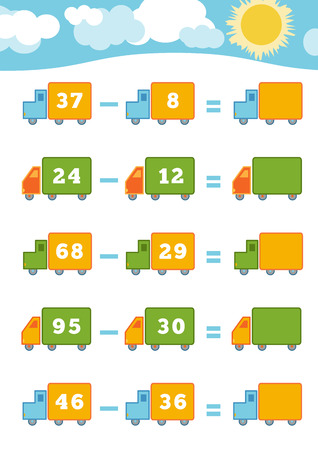 subtraction: Counting Game for Preschool Children. Educational a mathematical game. Count the numbers in the picture and write the result. Subtraction worksheets
