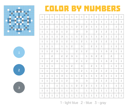 Color by number, education game for children. Coloring book with numbered squares, snowflake