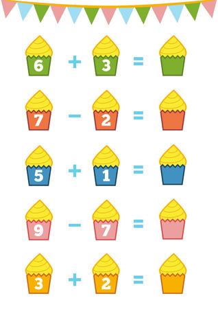 就学前の子供のゲームをカウントします。教育数学的なゲーム。画像内の数字をカウントし、結果を書き込みます。足し算と引き算のワークシート  イラスト・ベクター素材