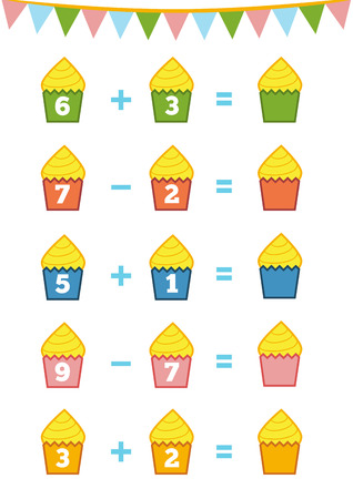 addition: Counting Game for Preschool Children. Educational a mathematical game. Count the numbers in the picture and write the result. Addition and subtraction worksheets
