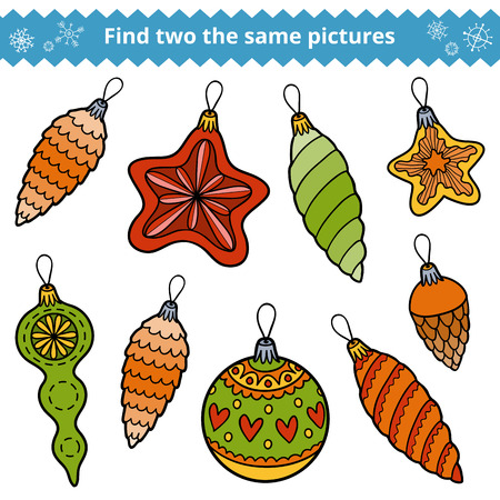 Find two the same pictures, education game for children. Christmas tree toys Illustration