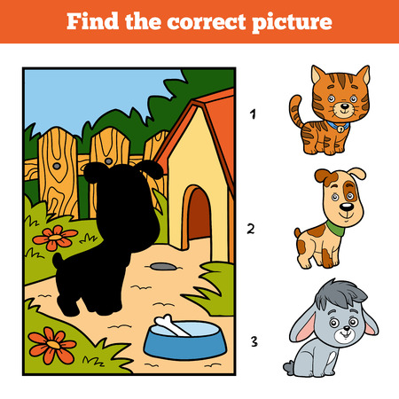 little dog: Find the correct picture, education game for children. Little dog and background