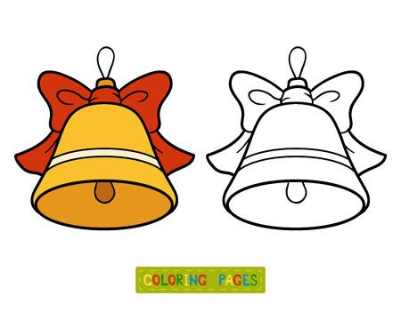 Libro de colorante para los niños, juguete árbol de Navidad, la campana Ilustración de vector