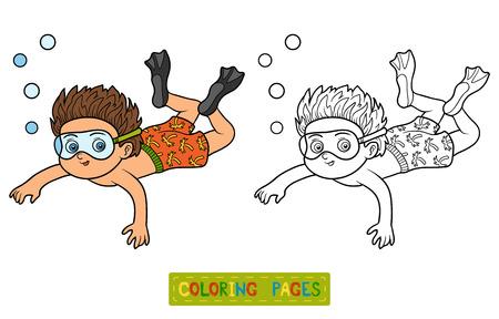 livre de coloriage pour les enfants, peu de natation de garçon dans la mer
