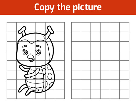 printable coloring pages: Copy the picture, education game for children, Ladybug