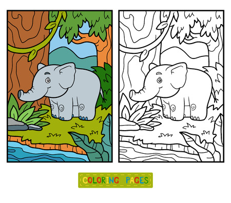 preschool children: Coloring book for children, elephant and background