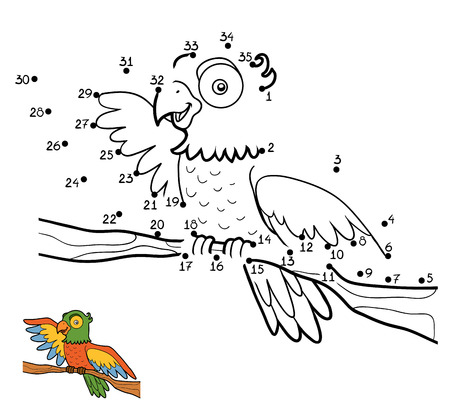 Numbers game, education dot to dot game for children, Parrot Illustration
