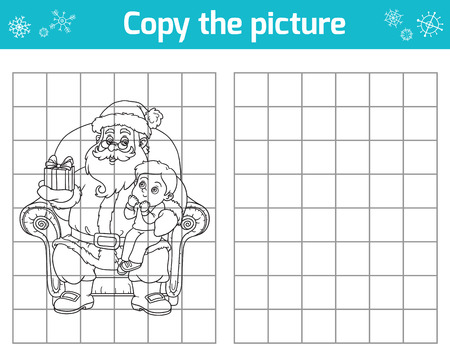 children santa claus: Copy the picture, education game for children. Santa Claus gives a gift a little boy