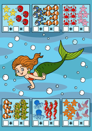 preschool children: Counting Game for Preschool Children. Educational a mathematical game. Count the fish in the picture and write the result. Addition worksheets