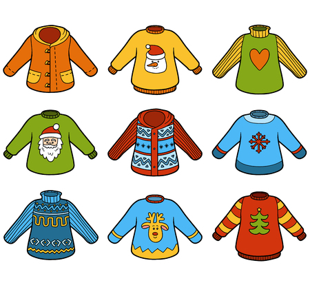 pullovers: Vector color set of sweaters, collection of Christmas pullovers