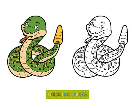 Coloring book for children, Rattlesnake Illustration