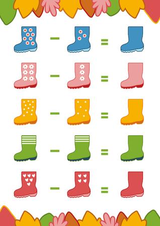 Comptage Jeu pour enfants d'âge préscolaire. Educational un jeu mathématique. Comptez les chiffres de l'image et écrire le résultat. feuilles de Soustraction
