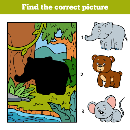 enigma: Find the correct picture, education game for children. Little elephant and background