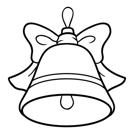 Coloring book for children, Christmas tree toy, bell Illustration