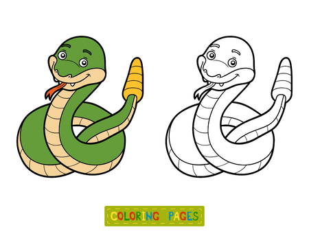 serpiente de cascabel: Libro de colorante para los ni�os, la serpiente de cascabel Vectores