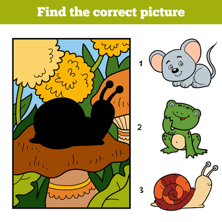 background picture: Find the correct picture, education game for children. Little snail and background