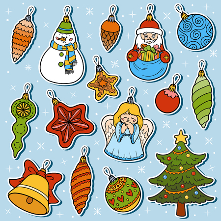 lump: Vector colorful set of Christmas tree toys