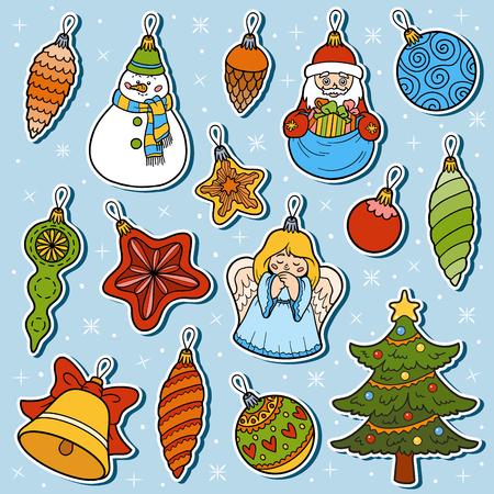 ball lump: Vector colorful set of Christmas tree toys