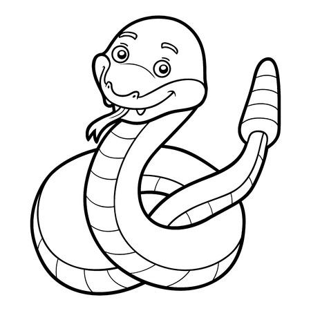 serpiente de cascabel: Libro de colorante para los niños, la serpiente de cascabel Vectores