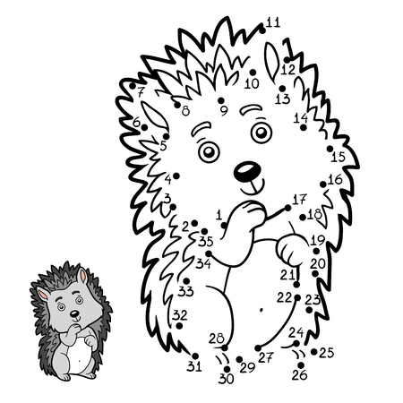 printable coloring pages: Numbers game, education dot to dot game for children, Hedgehog