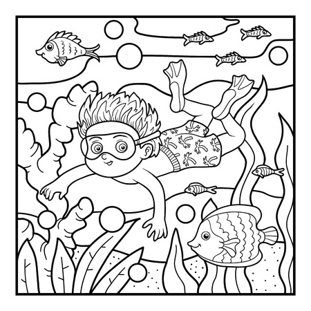 Coloring book for children little boy swimming in the sea vector
