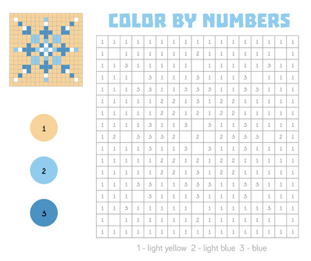 secret number: Color by number, education game for children. Coloring book with numbered squares, snowflake