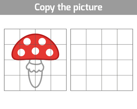 play poison: Copy the picture, education game for children, Amanita Illustration