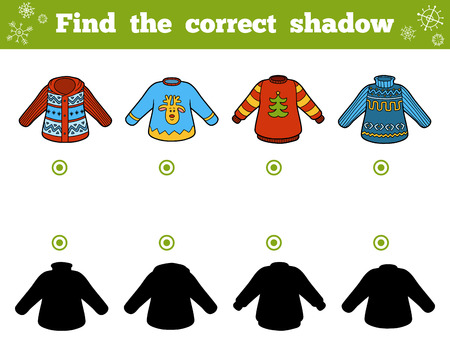 Find the correct shadow, education game for children. Set of sweaters 向量圖像