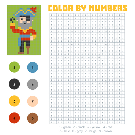 Color by number, education game for children, Pirate