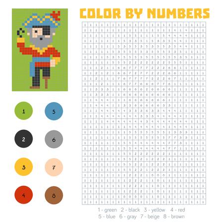 Farbe Nach Anzahl, Ausbildung Spiel Für Kinder, Piraten Lizenzfrei ...