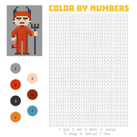 secret number: Color by number, education game for children, Devil Illustration