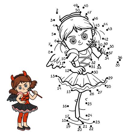 devil girl: Numbers game, education dot to dot game for children, Devil girl Illustration