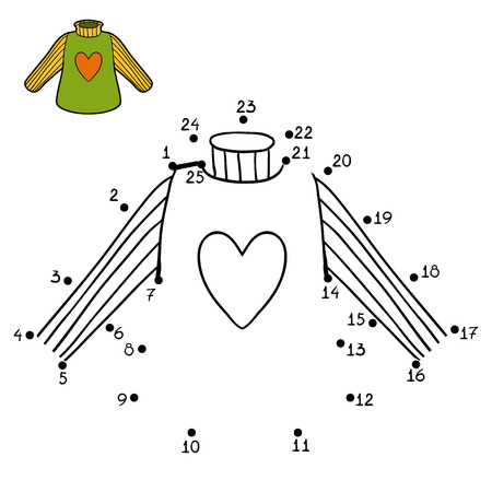 Numbers game, education dot to dot game for children, Pullover with heart