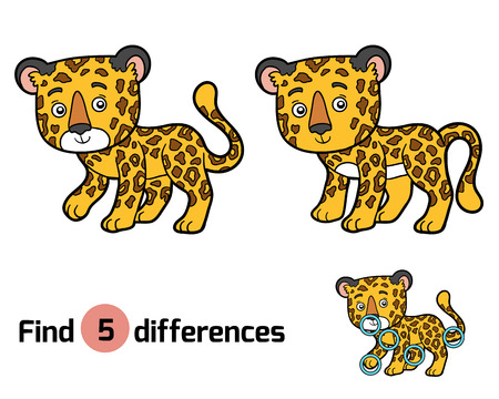 undomestic: Find differences, education game for children, jaguar Illustration