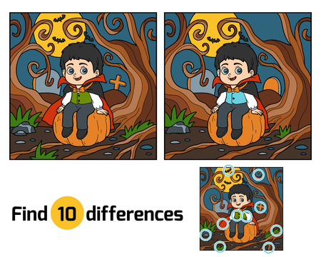 find: Find differences education game for children, Vampire Illustration