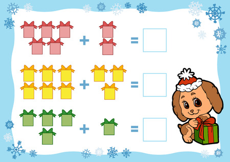 Counting Game for Preschool Children. Addition worksheets. Christmas gifts. Educational a mathematical game. Count the numbers in the picture and write the result.