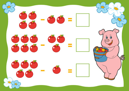 subtraction: Counting Game for Preschool Children. Subtraction worksheets. Pig and apple. Educational a mathematical game. Count the numbers in the picture and write the result. Illustration