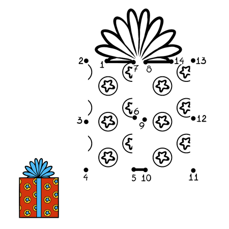Numbers game, education dot to dot game for children,  Christmas Gift Illustration