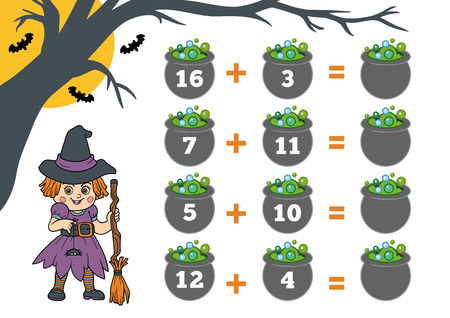 addition: Counting Game for Preschool Children. Halloween characters, witch. Educational a mathematical game. Count the numbers in the picture and write the result. Addition worksheets. Illustration