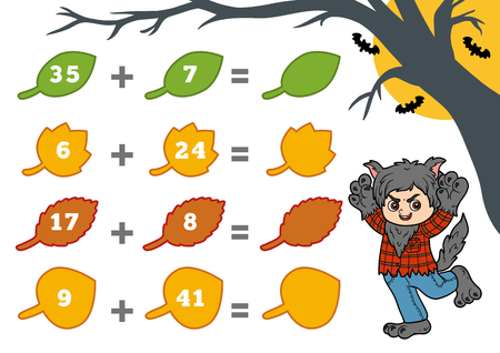 Counting Game for Preschool Children. Halloween characters, werewolf. Educational a mathematical game. Count the numbers in the picture and write the result. Addition worksheets.