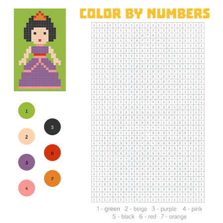 secret number: Color by number, education game for children, Princess Illustration
