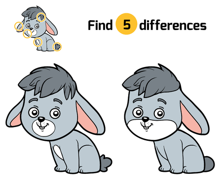 find: Find differences, education game for children, Rabbit Illustration