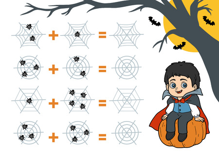 Counting Game for Preschool Children. Halloween characters, vampire. Educational a mathematical game. Count the numbers in the picture and write the result. Addition worksheets.