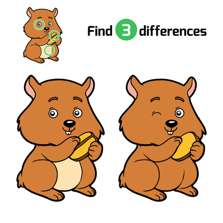 brainteaser: Find differences, education game for children, Hamster Illustration