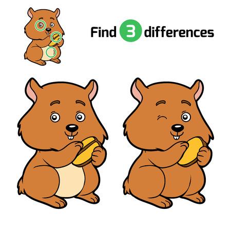 Find differences, education game for children, Hamster Illustration