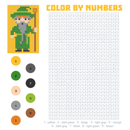 charmer: Color by number, education game for children, Wizard