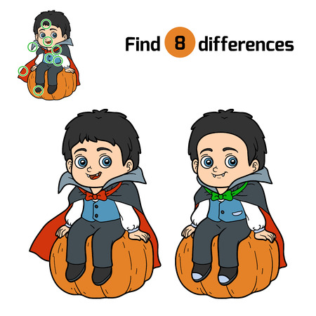 differences: Find differences, education game for children, Vampire Illustration