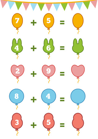 addition: Counting Game for Preschool Children. Educational a mathematical game. Count the numbers in the picture and write the result. Addition worksheets