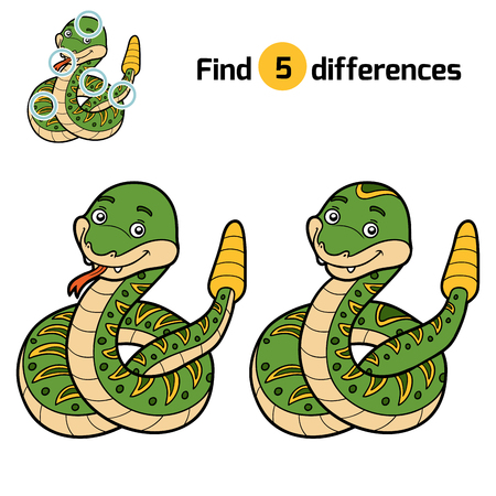 play poison: Find differences, education game for children, Rattle snake